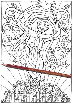 Mother Nature is shown as a tree of life in this artistic and spiritual colouring-in design from Naked in Love - an Adult Colouring Book by Catherine Nessworthy.   Perfect for a valentines day gift, an anniversary present or to show someone how much you love them.   Buy it online through Amazon: https://www.amazon.com/Naked-Love-Colouring-Catherine-Nessworthy/dp/1541212886/ref=sr_1_1?ie=UTF8&qid=1483778618&sr=8-1&keywords=naked+in+love+an+adult+coloring+book