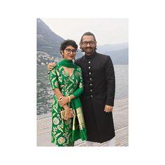 Kiran Rao looks vibrant in 'Nazneen' Varanasi brocade silk kurta & pant from 'Heer' collection at an engagement celebration in Italy. Kiran Rao, Kurta With Pants, Engagement Celebration, Varanasi, Vibrant, Italy, Silk, Mango, Wedding
