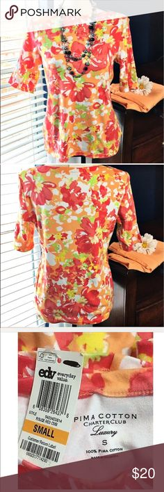 "Charter Club Floral Cotton Stretch Blouse New Pretty and comfortable coral, pink, orange, green and yellow 100% pima cotton luxury, stretchy blouse with short sleeves. Goes great with capris!  Bust: 38""; Length in the back from the shoulder: 24"". Smoke free home. Thank you for shopping my closet 😊🌺 Charter Club Tops Blouses"