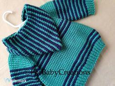 Crochet Baby Boy Sweater with Hood Dark Blue and Deep Sea