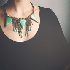 quil jewelry, chrysoprase and crystals with chain fringe