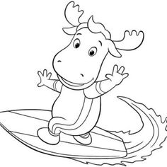 The Backyardigans, Tyrone Is Great Surfer In The Backyardigans Coloring Page: Tyrone is Great Surfer in the Backyardigans Coloring Page