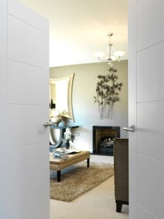 Stylish white door pair, looking stunning in this contemporary interior. JB Kind's Limelight - Apollo #interiordesign