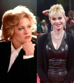 MELANIE GRIFFITH Yes, this is actually the same woman... Twenty four years on from 'Working Girl', Melanie is barely recognizable after endless 'modifications' to her face.
