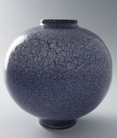 "Brother Thomas Bezanson, an American citizen, was born in Halifax, Nova Scotia (1929 -2007) | Vase, Blue Kairagi Glaze, Porcelain, 9 x 9 x 9"""
