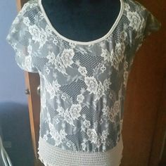"""Body Central Crop Top/ CLEARANCE A Beautiful sheer shirt. Its a light gray with cream colored flowers.  Its brand new without tags, but it does have thr the bag it came in. Size medium. Would fit a size 4 to a size 8. Can wear with about anything.  Its 100% polyester From shoulder down its 18.50 """" long The waist laying flat is 15"""" wide Body Central Tops Crop Tops"""