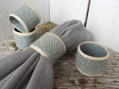 Set of 4 Ceramic Blue Napkin Rings Stamped With Pineapple Doily. $15.00, via Etsy.