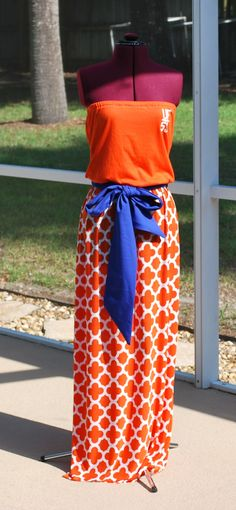a745feded3 University of Florida Gators Upcycled Shirt Made into Strapless Maxi Dress  with Tie Waist Sash Ready