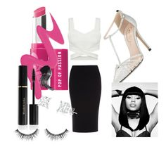 """At the BET Awards"" by tree3603 ❤ liked on Polyvore featuring Roland Mouret, SJP, Bare Escentuals, Too Faced Cosmetics, Elizabeth Arden, Sephora Collection and Nicki Minaj"