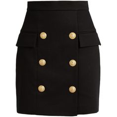 Balmain Six-button piqué mini skirt (14.640 ARS) ❤ liked on Polyvore featuring skirts, mini skirts, bottoms, black, balmain, bodycon mini skirt, body con mini skirt, high waisted short skirts and body con skirt