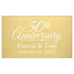 50th Wedding Anniversary Personalized - gold Banner