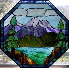 winter mountain stained glass - Google Search