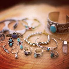 Woodstock collection in store now >  www.shopdixi.com gypsy style, bohemian, hippie, turquoise, crystals, crystal points, arrow