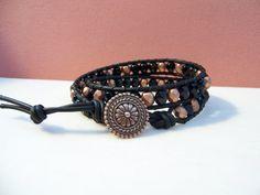 Matte Metallic Copper and Black Czech Glass Beaded Leather Double Wrap Bracelet