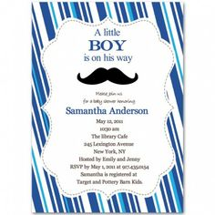 NOT FOR ME...  Just an idea to help host a shower for someone else.... Mustache Baby Boy Shower Invitations
