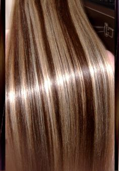 Beautiful blond and brown streaked hair