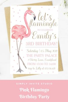 This Pink Flamingo Birthday Invite is perfect for a little girls' birthday party. This easy to edit birthday party invitation will be a great addition to your little one's Pink Flamingo Birthday Party Theme. Flamingo Birthday, Flamingo Party, Pink Birthday, 3rd Birthday, Birthday Invitation Templates, Diy Invitations, Birthday Party Invitations, 75th Birthday Parties, Summer Bash
