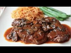 Beef Medallions with Caramelized Tomato Mushroom Pan Sauce. Super fancy sounding and looking and very easy to do.    This will impress the pants off your friends. ...That could get really awkward really fast, cook with caution.