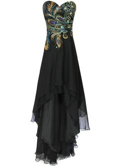 Meier Women's Strapless Peacock Embroidery Chiffon Gown Now On Sale: $119.00 - $129.99 Was $179.00