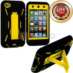 Amazon.com: myLife (TM) Black + Yellow Tough Series (Body Armor Defender Glove) Case for iPod 4/4S (4G) 4th Generation iTouch (Built In Kick...