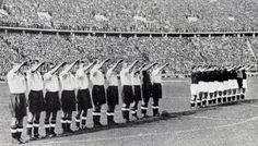 The English team giving the Nazi salute at the Olympiastadion in Berlin. May 1938.