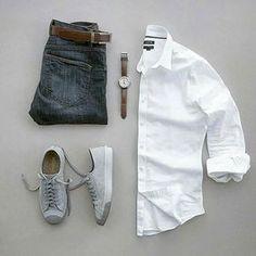 Simple Stylish Grid by @silverfox_collective Follow @stylishgridgame www.StylishGridGame.com Brands ⤵ Shirt: @kohls Jeans: @roarkrevival Shoes: @converse Watch: @invictawatch Belt: @ansonbelt
