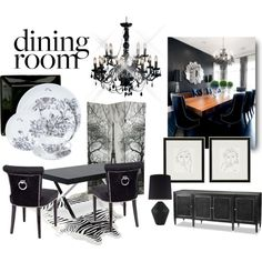 """Love this dining room set up: black chair with a door ring, very cool! This black and white combination is very sophisticated! For all your fabric furniture pieces, don't forget to protect it with a water & stain repellent. We are going to launch our product in the next two weeks. """"Black Dining Room"""" by youaresofashion on Polyvore"""