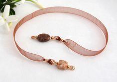Jeweled Ribbon Bookmark, Jasper Semi Precious Stone Beads, Rust Organza Ribbon, Copper Wire Wrapped Pendants, Gift for Book Lovers, Handmade