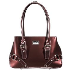 Mine... All Mine (Chocolate) || Dimensions: 11.5″L x 3.25″ W x 7.25″ H - Strap Length: 6″ – 8″ - Opening: 6″ - Trim Colors: None - SRP: $119.00 - Available In: Lipstick Red, Chocolate, Marina Blue, Fuchsia, Teal, Ebony