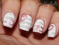 Love Letter Nails. Red pink metallic hearts white text #nails DIY NAIL ART DESIGNS