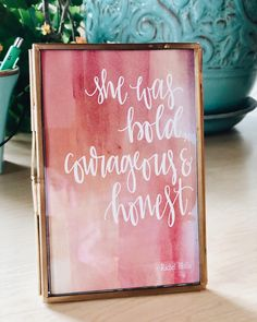 Need a great gift - or some inspiration for your desk at work? These brass frames have a sliding lock on the side that you can open and insert any print you like! Gale's designed six inspirational quotes Diy Artwork, Artwork Ideas, Rachel Hollis, Courage Quotes, Color Quotes, Vintage Frames, All Print, Design Projects, Great Gifts
