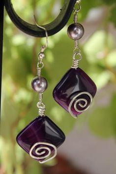 wire wrapped jewelry handmade, Purple earrings, pearl earrings. $16.00, via Etsy.