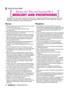#Elements How They Were #Discovered Part 5: #Mercury and #Phosphorus - #Explication - #ARIHANT #Chemistry #Spectrum #Magazine #JEEMain #JEEAdvanced #Class11 #ClassXI #Class12 #ClassXII Chemistry Revision, Chemistry Worksheets, Chemistry Notes, Science Chemistry, Organic Chemistry, Engineering Science, Science Student, Electronic Engineering, Mechanical Engineering