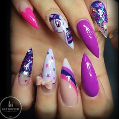 50 Magical Unicorn Nail Designs You Will Go Crazy For Pink And nail design unicorn - Nail Desing Fabulous Nails, Gorgeous Nails, Ongles Hello Kitty, Unicorn Nails Designs, Sparkle Nails, Hot Nails, Nail Decorations, Creative Nails, Stiletto Nails