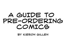 A guide to pre-ordering comics