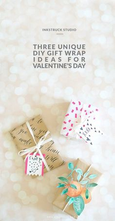 DIY Valentines gift wrap ideas by Zakkiya Hamza of Inkstruck Studio Best Valentine Gift, Valentine Day Crafts, Valentines Sale, Diy Gifts, Best Gifts, Hand Lettering, Gift Wrapping, Wrapping Ideas, Wraps