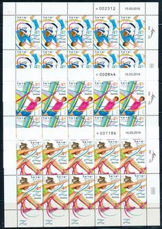Israel 2016 olympic games rio stamps 3 irregular 10 stamp sheets mnh