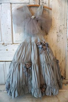 Vintage fancy gown wall hanging French farmhouse embellished