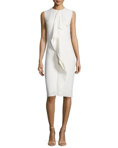 B332N Ralph Lauren Sleeveless Ruffle-Front Sheath Dress, Cream