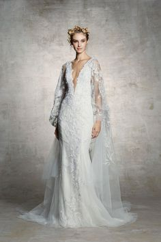eae7cb80655 Fit and flare fully beaded wedding gown with cape Gorgeous Wedding Dress,  Lacey Wedding Dress