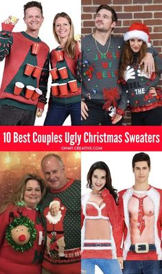 funny christmas costumes Head to the party in these 10 Best Couples Ugly Christmas Sweaters!These funny Christmas sweaters will be a big hit with friends - maybe even win a prize! Couples Christmas Sweaters, Ugly Christmas Sweater Women, Ugly Sweaters For Couples, Ugly Sweater Couple, Funny Christmas Costumes, Cute Christmas Outfits, T-shirt Refashion, Ugly Sweater Party, Pulls