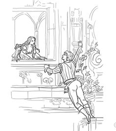 Romeo And Juliet Balcony Scene Coloring Page From Category Select 30459 Printable Crafts Of Cartoons Nature Animals Bible Many