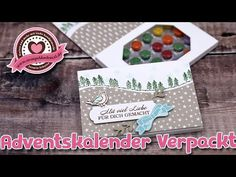 Tutorial: Schokolinsenadventskalenderverpackung mit Stampin' Up! - YouTube To Go, Stamping Up, Peonies, Christmas Cards, Seasons, A4, Curvy, Holidays, Spring