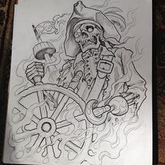 Skeleton pirate rib panel for today. Going to be a good day! Pirate Tattoo Sketch, Tattoo Sketches, Tattoo Drawings, Art Sketches, Pirate Skull Tattoos, Skeleton Tattoos, Type Tattoo, Body Art Tattoos, Totem Tattoo