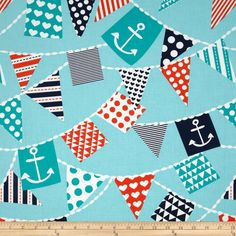 This fabric would make great shorts for the boys! Michael Miller Ahoy Matey Mutiny on the Bunting Turquoise Minky Baby Blanket, Baby Girl Blankets, Backgrounds Wallpapers, Boppy Pillow Cover, Personalized Baby Shower Gifts, Nautical Flags, Nautical Theme, Turquoise Fabric, Ahoy Matey