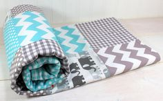 Baby Blanket, Unisex Patchwork Baby Blanket, Gender Neutral Nursery Decor, Crib Bedding, Elephants, Aqua Blue and Gray Chevron Gingham