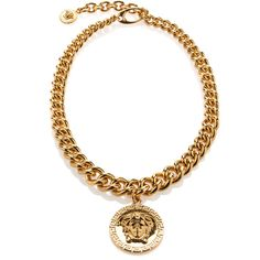 Versace Chain Link Medusa Necklace ($975) ❤ liked on Polyvore featuring jewelry, necklaces, versace, accessories, oro, chain link jewelry, charm jewelry, gold plated jewelry, versace jewelry and gold plated charms