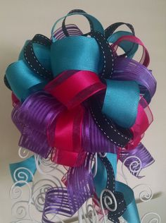 Monster High Gift Bow  Pink Black Blue and by BasketsFromAtoZ