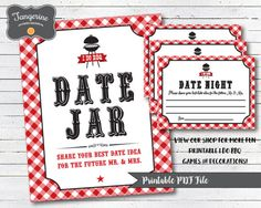 I do games, Date Night Jar Sign and cards, I do BBQ decorations, Printable PDF file Couples Shower Decorations, Bbq Decorations, Couple Shower Games, Bridal Shower Games, Bbq Games, Lawn Games, Date Night Jar, Backyard Bridal Showers, I Do Bbq