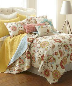 Another great find on #zulily! White & Orange Floral Quilt Set #zulilyfinds
